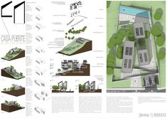 Casas en pendiente: 17 ejemplos de cómo adaptarse a un terreno inclinado - AboutHaus How To Plan, Style, Minimalist Home, Log Cabin Houses, Home Layouts, Home Plans, Walls, Precast Concrete, House