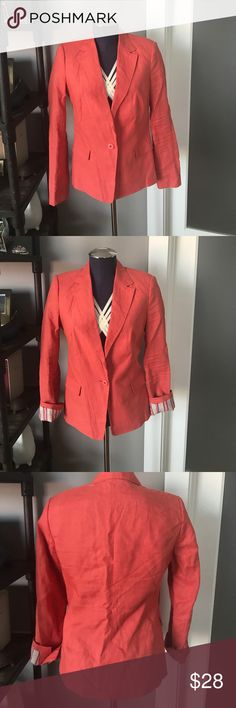 Zara blazer Zara blazer, worn once. Coral linen with contrast striped lining.  Excellent condition. Zara Jackets & Coats Blazers