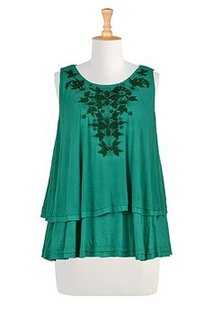 I <3 this Floral embellished layer knit trapeze tee from eShakti **(change to short sleeve)