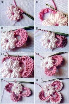 Irish crochet motif step by step ❥❥