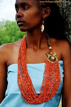 Orange Masai Beaded Necklace,Chunky African Jewelry,Statement African jewellery