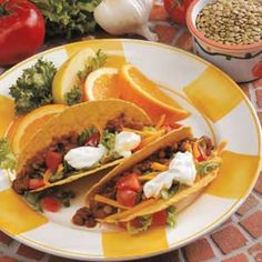 Tasty Lentil Tacos: My only suggestion is to do all the cooking in a saucepan instead of a skillet. I think the lentils cook up better that way.