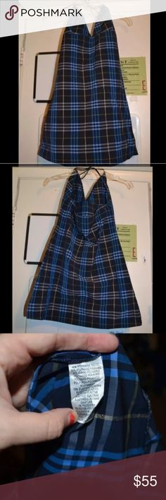 Burberry London Navy Plaid Halter Mini Dress L Great used condition. Interesting material. Fits very tight. 46% polyamide tactel 38% polyamide-polyamid 15% elastane 1% polyester Burberry Dresses Mini