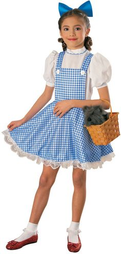 Girls Wizard of Oz    Size 5 - 7 Years Dorothy Costume  click picture to enlarge    Description    This Girls Dorothy Costume is perfect for any little girl who loves the fantasy and enchantment of The Wizard of Oz! She'll look and feel just like Dorothy Gale in this quality child character costume. The perfect child Halloween costume idea, this Dorothy ensemble includes a Hair bow & dress.    NOTE: basket, socks, and shoes sold separately.  $46.89