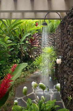 unpolished life: Beautiful outdoor shower & stone patio