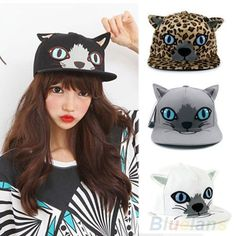 Girl Stylish Cat Ear Hip-Hop Flat-Brimmed Adjustable Baseball Cap Snapback B48U #GreatSpringfieldus