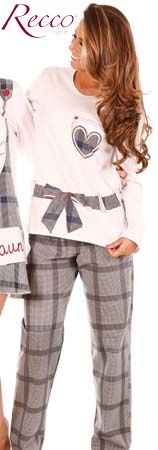 Pijama comprido de malha 100% algodão com biopolimento - Recco