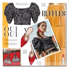 """""""Ruffled top"""" by anne-irene ❤ liked on Polyvore featuring Attico, STELLA McCARTNEY, Oui, Maybelline, ruffles, mules and ruffledtops"""