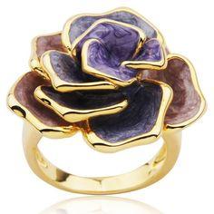 18k Gold Over Sterling Silver Lavender Flower Ring on Joolwe.com