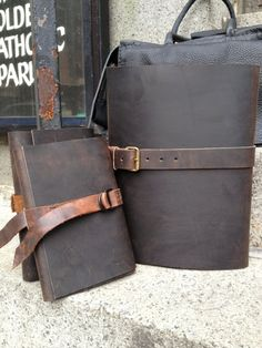 Handmade leather journal brown distressed by LUSCIOUSLEATHERNYC