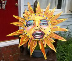 """Diva Sun  made entirely from Old Bushel Crab Baskets from the Eastern Shore  32"""" across  by Dawn Tarr DAWN TARR ART"""