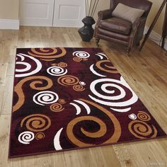 "Allstar Burgundy Area Rug. Contemporary. Abstract. Traditional. Formal. Shapes. Spirals. Circles (5' 2"" x 7' 1"")"