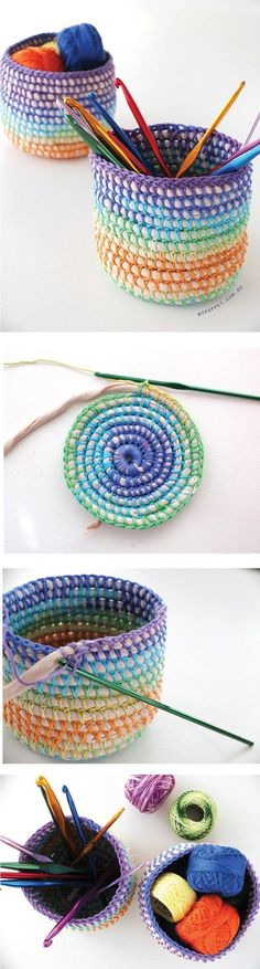 DIY Coil Crochet Rainbow Basket Tutorial