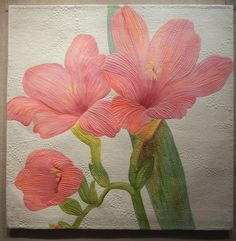 """""""Freesia"""" by Juanita Yeager.  2012 SAQA in Florida exhibit; photo by Ellen Lindner at Adventure Quilter"""