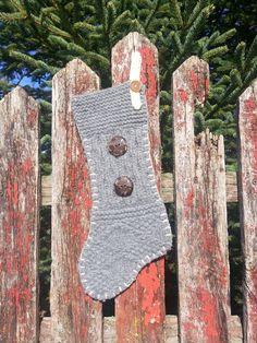 Upcycled Sweater Christmas Stocking Grey Color, Grey Wool Stocking, Rustic Sweater Stocking,  Rustic Christmas Decor, Vintage Stocking by NifteeNini on Etsy https://www.etsy.com/listing/232486515/upcycled-sweater-christmas-stocking-grey