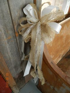 I love these........ Burlap Lace Pew Bows by WeddingsbyKimberly on Etsy, $9.50