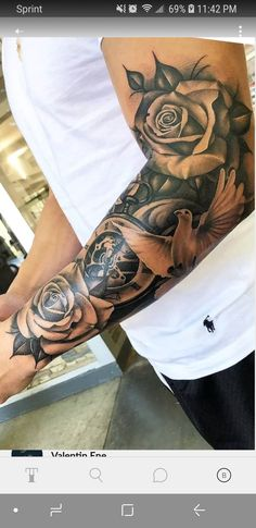 Half sleeve tattoo - Dragan Martinovic - tattoo old school tattoo arm tattoo tattoo tattoos tattoo antebrazo arm sleeve tattoo Half Sleeve Tattoos Forearm, Half Sleeve Tattoos For Guys, Best Sleeve Tattoos, Tattoo Sleeve Designs, Tattoo Designs Men, Roses Half Sleeve Tattoo, Sleeve Tattoo Men, Mens Half Sleeve, Shoulder Tattoos