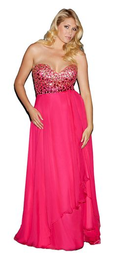 Night Moves 7128W Jeweled Chiffon Plus Size Prom Dress