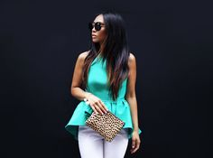 stacey ann loves cameo the label alone time top, clare vivier leopard clutch