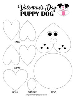 See this post for a FREE printable template to make your own Valentine's Day Puppy Dog! This simple DIY Dog Valentine's Day card is an easy craft for toddlers, big kids and adults to make. Great for classroom Valentine's Day art projects. #ValentinesDayCard #ValentinesDayCrafts Kinder Valentines, Valentines Bricolage, Valentine Crafts For Kids, Valentines Day Activities, Valentine Box, Puppy Valentines, Valentines Sweets, Homemade Valentines, Valentine Wreath