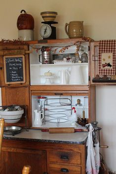 Carey's Farmhouse Kitchen old Hoosier cabinet Vintage Kitchen Cabinets, Old Kitchen, Kitchen Ideas, Antique Cabinets, Kitchen Cupboard, Kitchen Shelves, Kitchen Utensils, Kitchen Design, Antique Hoosier Cabinet