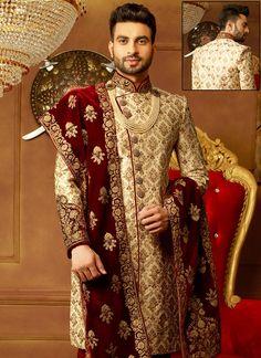 Gold color Sherwani in Banarasi Silk fabric with Embroidered, Zari work Sherwani For Men Wedding, Wedding Dresses Men Indian, Sherwani Groom, Wedding Men, Punjabi Wedding, Indian Weddings, Farm Wedding, Wedding Couples, Boho Wedding