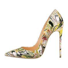 Xianshu Womens Patent Leather High Heel Stitching Fight Color Shoes Hollow Shallow Mouth Pumps (Green-35 EU) XdlTWMEJI5