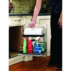 Chrome Wire Cabinet Mount Cleaning Caddy