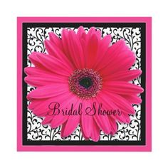 Pink gerbera daisy black and white floral bridal shower invitation.