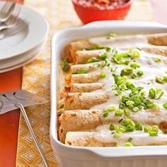 Shrimp and fish make a healthy, nutrient-packed substitute in these savory enchiladas. More healthy Mexican recipes Healthy Mexican Recipes, Vegetarian Mexican, Healthy Food, Dinner Healthy, Shrimp Recipes, Fish Recipes, Sauce Recipes, Chicken Recipes, Seafood Enchiladas