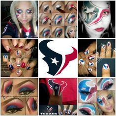Texans nails & makeup. :)