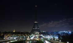 The Eiffel Tower after its lights were shut off in memory of the victims of the attack on Charlie Hebdo; January 8, 2015.