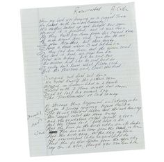 """Handwritten lyrics by Johnny Cash to the song """"Resurrected."""""""