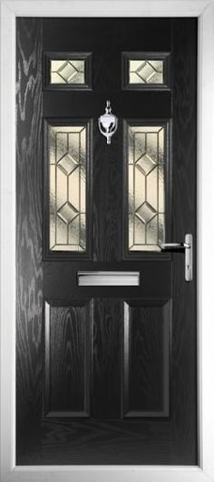 Upvc black colour composite front door made to measure for Coloured upvc doors