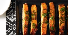 Presentation is an important part of Japanese cuisine, so adorn your sweet glazed salmon with easy-to-make shallot curls.