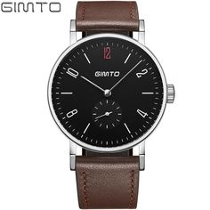 Fashion simple stylish Top Luxury brand GIMTO Watches men leather strap band Quartz-watch thin Dial Clock man gm222 #Affiliate