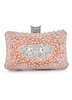 Stylish Champagne  Handbags / Clutches with Handmade Beadings