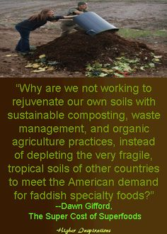Why are we not working to rejuvenate our own soils with sustainable composting, waste management, and organic agriculture practices, instead of depleting the very fragile, tropical soils of other countries to meet the American demand for faddish specialty foods?    http://pinterest.com/higherinspire/super-foods-quinoa-taking-back-our-power/  http://www.smallfootprintfamily.com/the-environmental-impact-of-imported-superfoods/