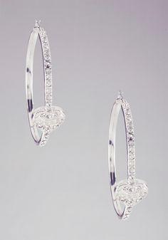 Rhinestone Heart Hoop Earrings -
