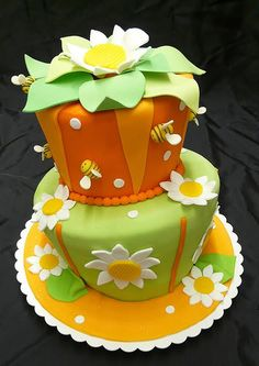 """Two layer """"topsy turvy"""" cake!  Lots of color options here...."""