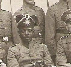 Black German soldier, in a Hussar regiment judging by his hat and shirt ~ WW1
