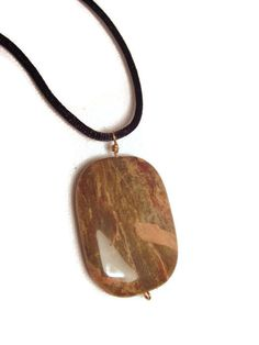 Jasper Stone Pendant Necklace with Black Satin Cord by splendidstones. Explore more products on http://splendidstones.etsy.com