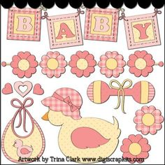 Welcome Baby Girl 1 Clip Art - Original Artwork by Trina Clark