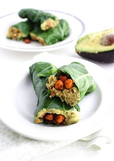 These Collard Wraps are filled with quinoa, avocado and crunchy roasted chickpeas--talk about a burst of flavor!