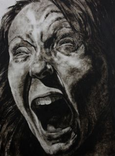 """Clara Lieu, Self-Portrait No. 30, etching ink and lithographic crayon on Dura-Lar, 48"""" x 36"""", x 2011.  This drawing is from """"Falling"""", a project that is a visualization of my personal experience with depression. The condition brought on frequent episodes where I felt emotionally and physically out of control.  After an extended, untreated struggle, a diagnosis brought relief, and the process of unearthing myself from the disease began."""
