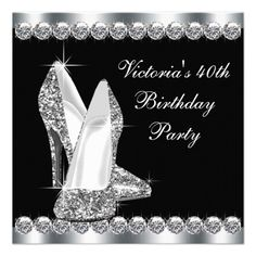Womans Elegant Black 40th Birthday Party Invitations