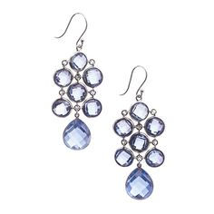 Pre-Owned Elizabeth Showers Sterling Silver & Sapphire Chandelier... ($370) ❤ liked on Polyvore featuring jewelry, earrings, sterling silver jewelry, sparkle jewelry, sterling silver jewellery, chandelier jewelry and preowned jewelry