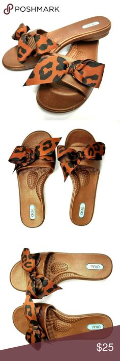 c4e4fcd85a08 Oka B Slides Brown Animal Print Bow Flip Flops Oka B Womens Shoes Slip On  Slides