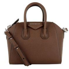 Givenchy Shoulder Bags, Antigona Mini Bag Brown Handbag ($1,370) ❤ liked on Polyvore featuring bags, handbags, shoulder bags, brown, brown leather handbag, leather man bag, mini shoulder bag, leather handbags and hand bags