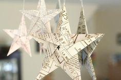Den här fina stjärnan i papper går att variera i alla oändlighet med olika papper. Prova med olika färger och kvaliteter, tidningspapper och mönster!